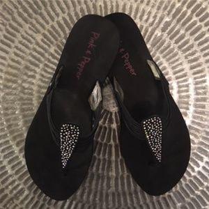 Pink & Pepper Black Silver Sparkle Sandals Sz 9-10